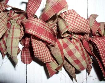 Primitive Country Red 3 Foot Rag Garland Americana Prim Cotton Homespun Fabric Garlands Red and Tan Homespun Rag Garland