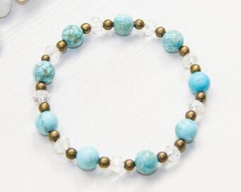 Natural Turquoise Bracelet, Turquoise Stretch Bracelet, Turquoise Bracelet, Turquoise Jewelry, Stacking Bracelet, Gemstone Bracelet