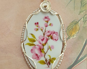 Broken china pendant,  with beautiful pink blossoms