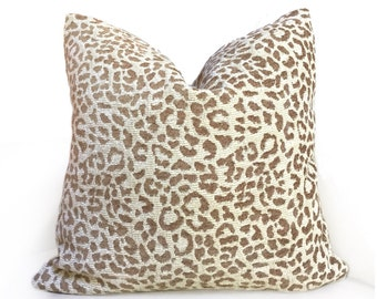 """Cream & Sand Leopard Spots Pattern Chenille Pillow Cover, Fits 12x18 14x20 16x26 16"""" 18"""" 20"""" 22"""" 24"""" Cushions"""