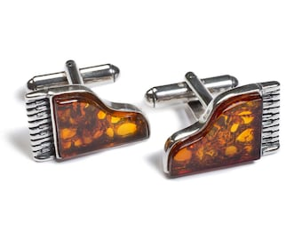 Baltic Amber and Silver Piano Cufflinks