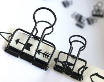 Black Planner Clips Binder Accessories Bull Dog Skeleton Paper Clips