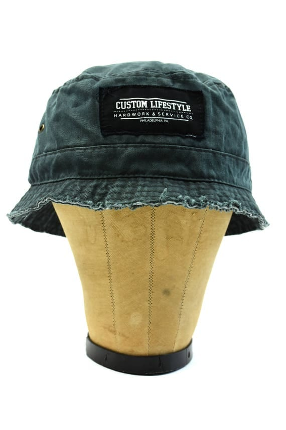 raw edge bucket hat