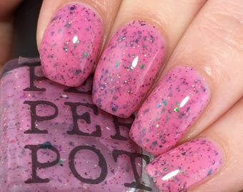 Pink Nail Polish Chrome Flakies Indie Shop Limited Edition Where My Peeps At Pepper Pot Polish Gift For Her Gift Under 15