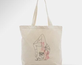 Yoga tote bag, women bag, pink