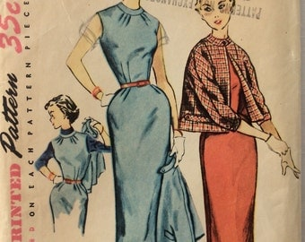 Simplicity 4785 misses dress or jumper and jacket size 10 bust 28 vintage 1950's sewing pattern