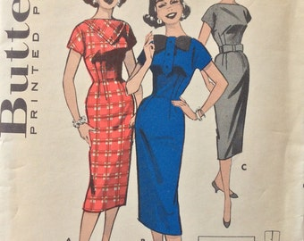 Butterick 8464 misses sheath dress size 10 bust 30 vintage 1950's sewing pattern  Uncut   Quick 'N Easy