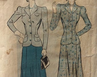 Advance 2560 misses suit jacket & skirt size 20 bust 38 vintage 1940's sewing pattern