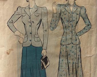 Advance 2560 vintage 1940's misses suit jacket & skirt sewing pattern size 20 bust 38