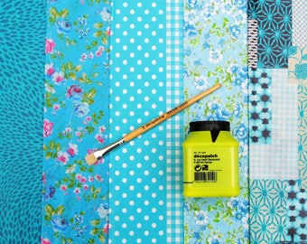 Decopatch Value Kit with Glue, Brush and 5 Papers,  Decopatch Craft Supplies,  Decoupage Classroom Supplies, Paper Crafting Kit in 6 colours