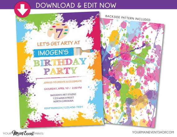 Paint Art Craft Birthday Party Invitation - Paint Splatter Art Party Invite - Instant Download Edit in Adobe Reader