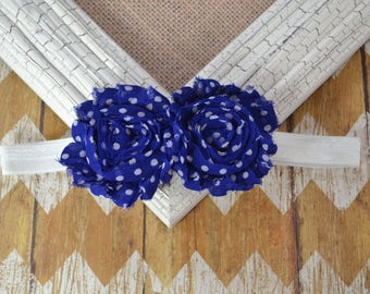 Blue and white flower headband, Blue shabby headband, Baby headband, infant headband, toddler headband, blue polka dot headband, baby gift