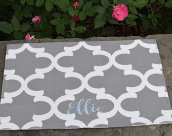 Personalized Grey Dog Placemat || Quatrefoil Food+Water Bowl Mat || Water Resistant Pet Gift || Feeding Station Custom by Three Spoiled Dogs