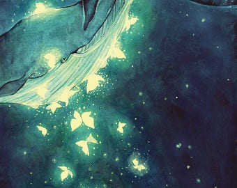 Starry Whale A4 Print