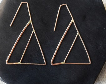 The Sierra Geo Mountain Earrings, Mountain Earrings, Geometric Earrings, Triangle Earrings, Triangle Hoop Earrings, Geometric Gold Earrings