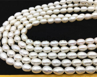 AA 8.5-9.5x11-12mm Long white rice pearl,for leather pearl necklace,pearl choker ...