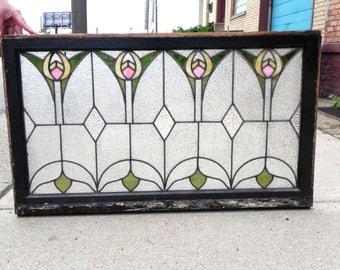 Antique Arts & Crafts Prairie Stained Glass Window