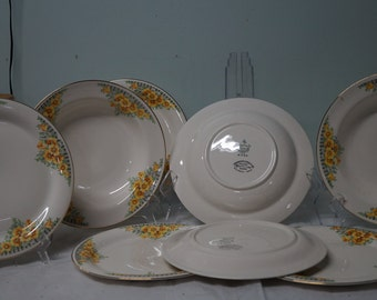Vintage homer laughlin acacia eggshell nautilus gold 5 lunch plates 1950s