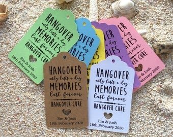 10 Kraft White Tags Wedding Favour Personalised Bomboneire Hangover Tags Kits