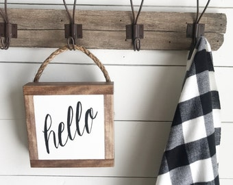 Hello sign, wooden sign, hanging sign