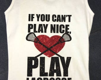 Youth Knit Lacrosse Tank Tops - If You Can't Play Nice, Play Lacrosse