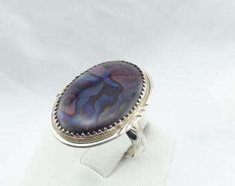 Unusual Purple Abalone Shell and Sterling Silver Vintage Ring #ABALONE-SR2