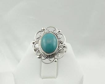Gorgeous Robin Egg Blue Turquoise Vintage Sterling Silver Decorative Ring Size 7 1/4  #TURQ725-SR3