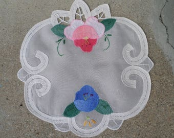 Gorgeous Antique / Vintage Applique  Doily from the early 1900s.