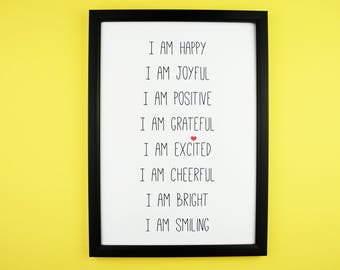Happy Affirmations A5 A4 Print | Inspirational Positive Typography Print |Home Decor | Gift | Joy, Happiness, Adventure, Dance, Dream, Play