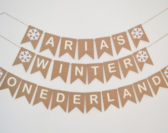 Personalised Winter Onederland Bunting, First Birthday Banner, 1st Party Custom Bunting, Snowflakes.