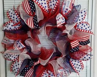 4th July Wreath, Patriotic Wreath, USA Wreath, America Wreath, Memorial Day Wreath, Labor Day Wreath, Deco Mesh Wreath, Eagle , Ribbon