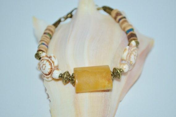 Bracelet Sea Turtle & Coconut Beads, Sea Turtle Bracelet