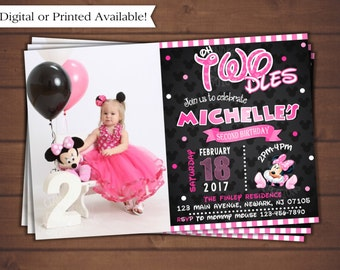 Minnie Mouse Invitation, Pink Minnie Mouse Birthday