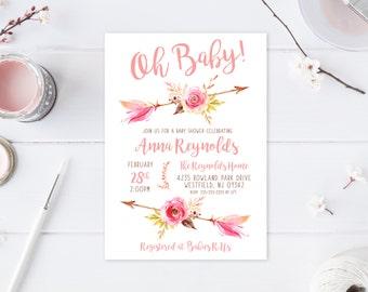 Oh Baby Shower Invitation, Baby Shower Invitation, Boho, Boho Shower Invites, Floral, Flower, Baby Shower Invites for Girls, Baby Girl [576]