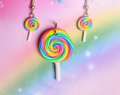 Polymer clay lolly earring and necklace set, rainbow, pink, green, blue, yellow