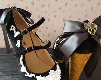 Dragon Victorian icing heels. Dragon heels. Victorian heels. Lace detail heels
