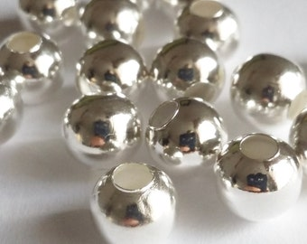 50pcs Silver Plated Beads 8mm - Smooth Plain Round Ball Metal Jewelry Findings Supplies - B06313