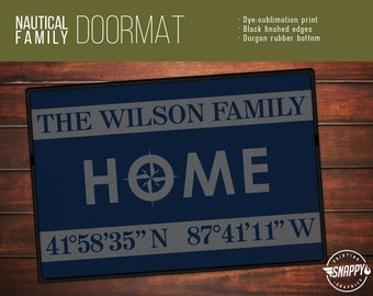 Home Longitude & Latitude with Custom Name - Welcome Mat/Doormat/Rug - 2 Sizes - High Quality Print, Dye-Sub, Weatherproof - Indoor/Outdoor
