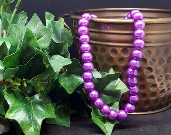 """Glass Pearl Beads ~FUSHIA PINK~ 8mm Bead, 1mm Hole; approx.  16"""" Strand (approx 55 beads)"""