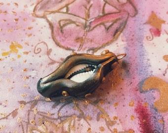 """mystical polymer clay cowry pendant """"magic eye"""""""