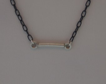 Oxidized Sterling Silver Chain Necklace (Black) With Sterling Silver