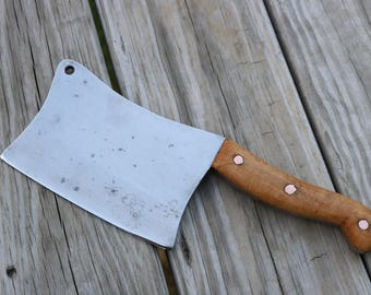 Vintage meat cleaver restored