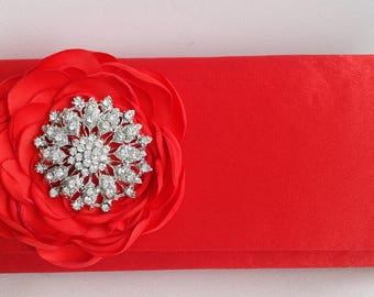 Red Bridal Clutch with Rhinestone ~ Wedding Clutch, Bridesmaid Clutch ~ Bouquet Clutch- Evening Bag ~ Mother of the Bride, Prom, Vintage