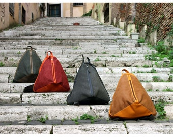 "Backpack ""Konus"" in waterproof canvas and leather"