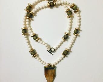 Arrow Head Necklace with Natural Wood Beads, Gold, and Filigree Accents