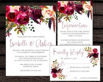 DIGITAL Peony, Peonies, Spring, Summer, Boho, Rustic, Wreath, Flowers Floral, Burgundy, Wedding, Digital, Download, Printable Invitation