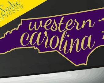 "Western Caroline WCU Vinyl Decal/Sticker (Shape of Nc/State)  7"" width - Free Shipping!"
