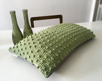 Crochet Dotted Cushion Cover . Pear Green