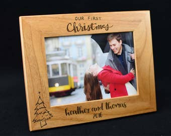 Our First Christmas - First Christmas - Custom Photo Frame  - Laser Engraved Photo Frame - Personalized Photo Frame Picture Frame