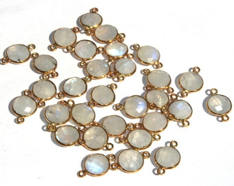 6 Pcs 10mm Gold Plated Natural Rainbow Moonstone Bezel Set Faceted Round Connector, Double Loop Pendant Charm RM02